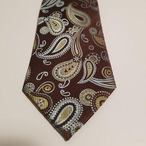 Axcess Men's Tie 100% Silk Brown Paisley
